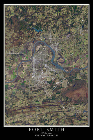 Fort Smith Arkansas From Space Satellite Poster Map - TerraPrints.com