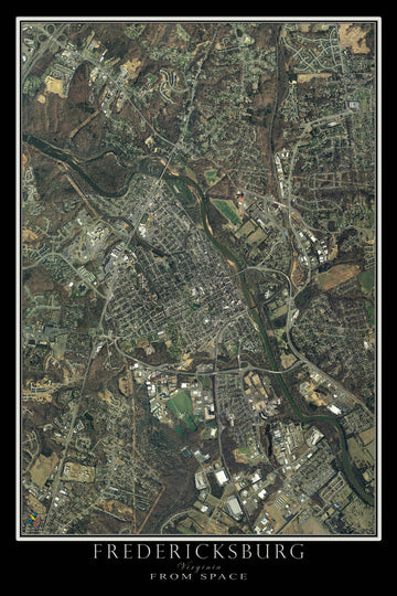Fredericksburg Virginia Satellite Poster Map - TerraPrints.com