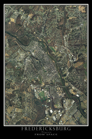 Fredericksburg Virginia From Space Satellite Poster Map - TerraPrints.com