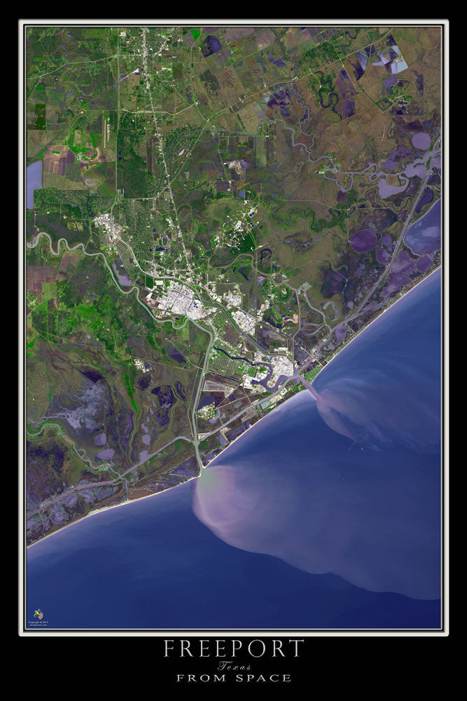 Freeport Texas From Space Satellite Poster Map - TerraPrints.com