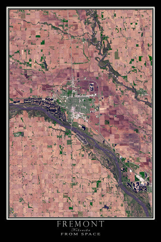 Fremont Nebraska Satellite Poster Map - TerraPrints.com