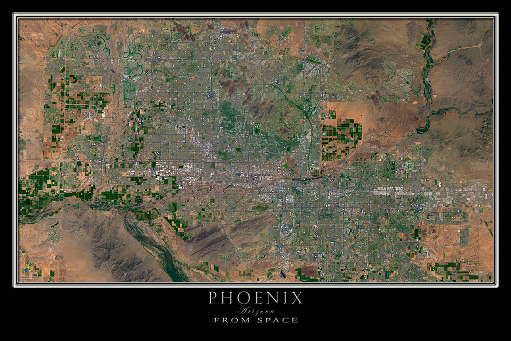 Satellite Map Of Arizona.Greater Phoenix Arizona Satellite Poster Map