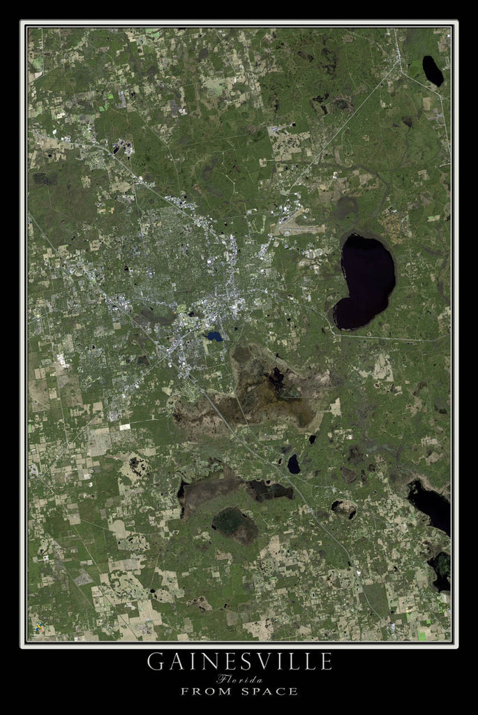 Gainesville Florida From Space Satellite Poster Map - TerraPrints.com