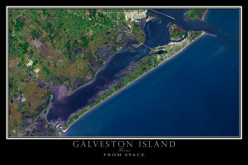 Galveston Island Texas From Space Satellite Poster Map - TerraPrints.com