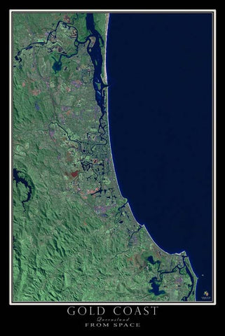 Gold Coast Queensland Australia Satellite Map - TerraPrints.com