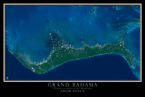 Grand Bahama Island From Space Satellite Poster Map - TerraPrints.com