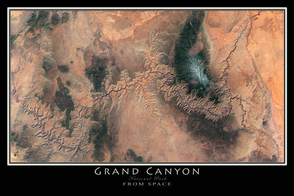Grand Canyon National Park Arizona From Space Satellite Poster Map - TerraPrints.com