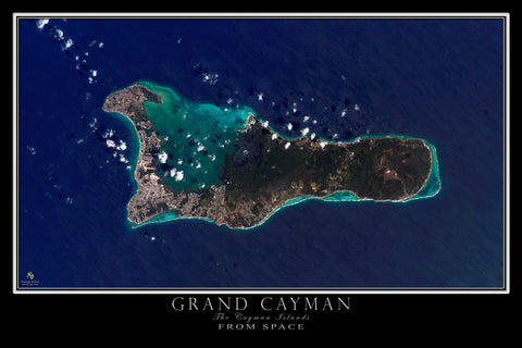 Grand Cayman Island From Space Satellite Poster Map - TerraPrints.com