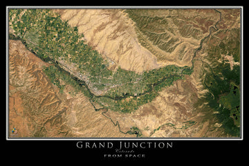 Grand Junction Colorado Satellite Poster Map - TerraPrints.com