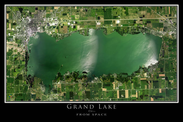 Grand Lake Celina Ohio Satellite Poster Map
