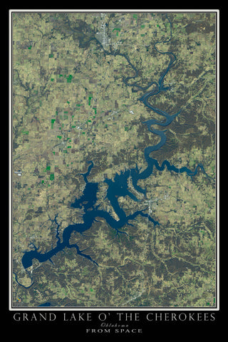 Grand Lake O' the Cherokees Oklahoma From Space Satellite Poster Map - TerraPrints.com