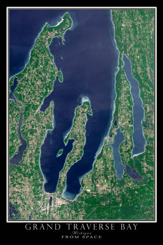 Grand Traverse Bay Michigan From Space Satellite Poster Map - TerraPrints.com