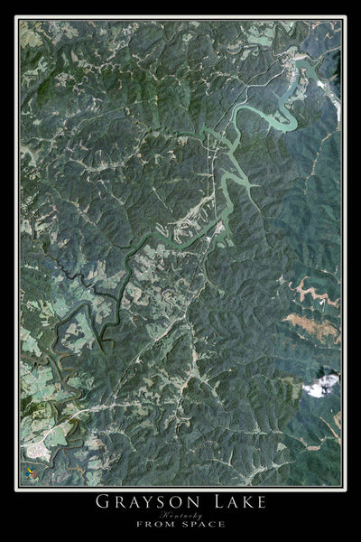 The Grayson Lake Kentucky Satellite Poster Map
