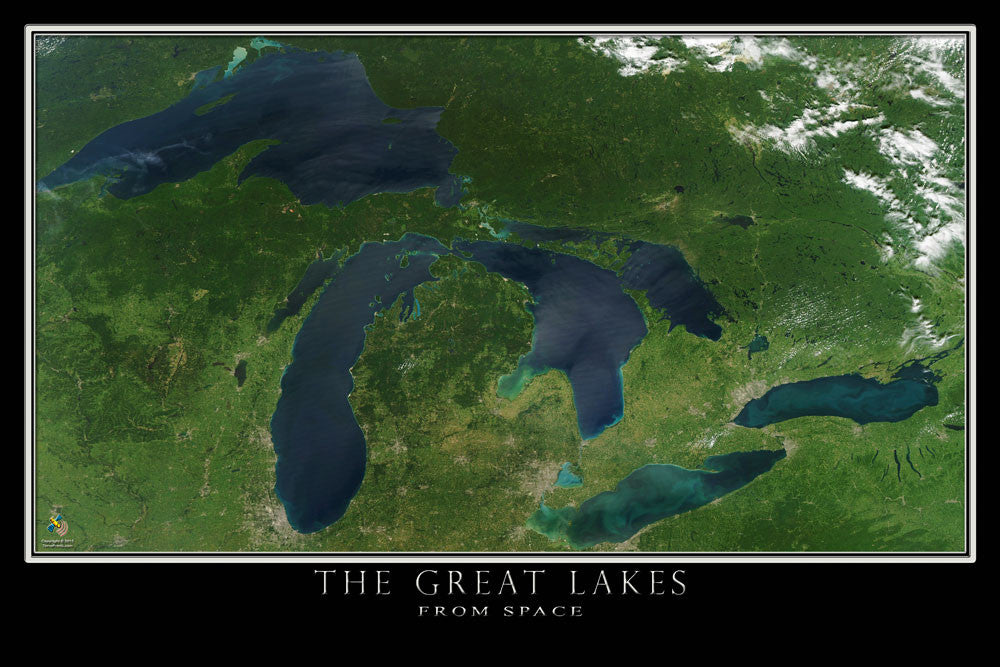 The Great Lakes From Space Satellite Poster Map - TerraPrints.com