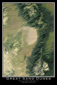 The Great Sand Dunes National Park Colorado Satellite Poster Map on california national park map, sand flats campground calaveras county, canyons national park map, moon national park map, colorado map, volcanoes national park map, mexico national park map, sand creek colorado, namibia map, river national park map, grasslands national park map, v&t railroad map, black canyon of gunnison map, namib desert map, garden of the gods map,