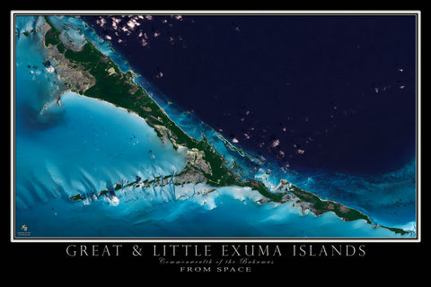 Great & Little Exuma Islands Bahamas From Space Satellite Poster Map - TerraPrints.com