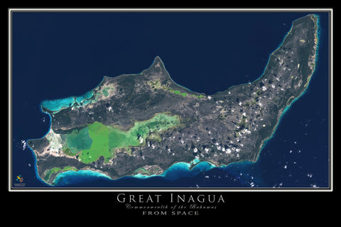 The Great Inagua Bahamas Satellite Poster Map