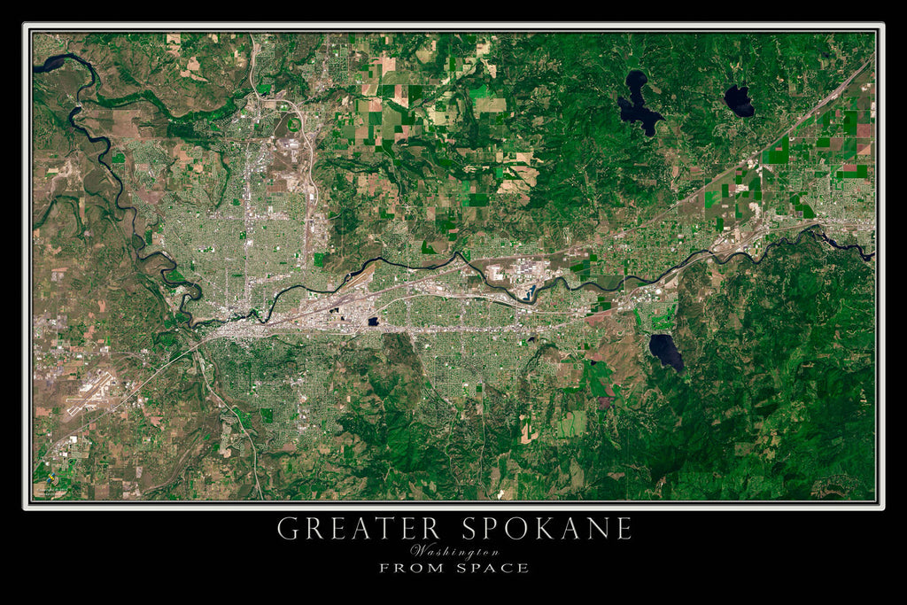 Greater Spokane Washington Satellite Poster Map TerraPrintscom
