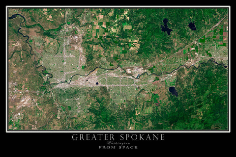 Greater Spokane Washington From Space Satellite Poster Map - TerraPrints.com