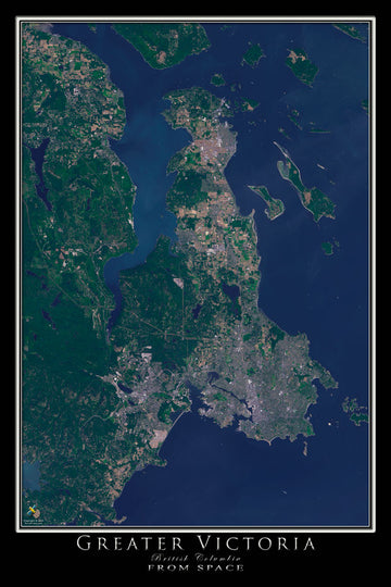 Greater Victoria British Columbia Satellite Poster Map - TerraPrints.com