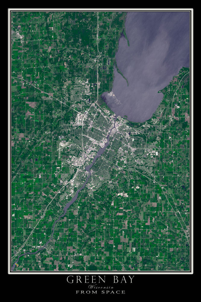 Green Bay Wisconsin Satellite Poster Map on satellite maps of maine, satellite maps of california, satellite maps of united states, satellite maps of alabama, satellite maps of wisconsin, satellite maps of new york, satellite maps of hawaii,