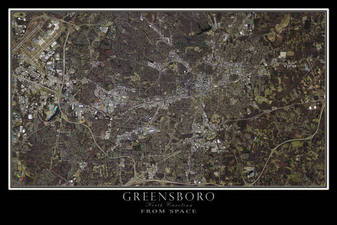 Greensboro North Carolina From Space Satellite Poster Map - TerraPrints.com