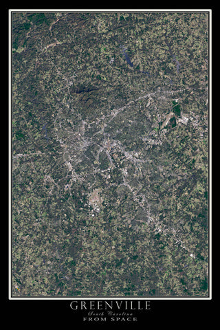 Greenville South Carolina From Space Satellite Poster Map - TerraPrints.com