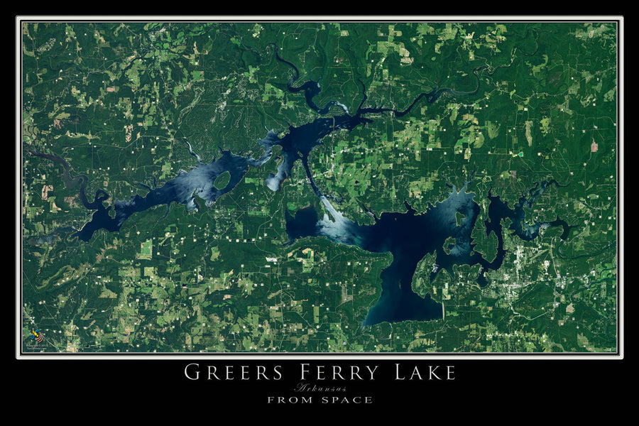 The Greers Ferry Lake Arkansas Satellite Poster Map