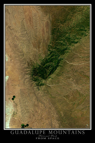 Guadalupe Mountains National Park Texas From Space Satellite Poster Map - TerraPrints.com
