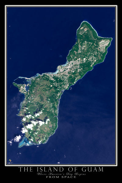 Guam From Space Satellite Poster Map - TerraPrints.com
