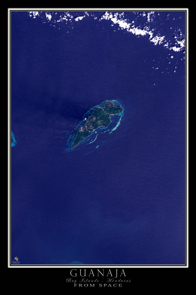 Guanaja Bay Islands Honduras Satellite Poster Map - TerraPrints.com