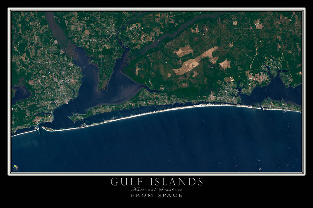 Gulf Islands National Seashore Florida From Space Satellite Poster Map - TerraPrints.com