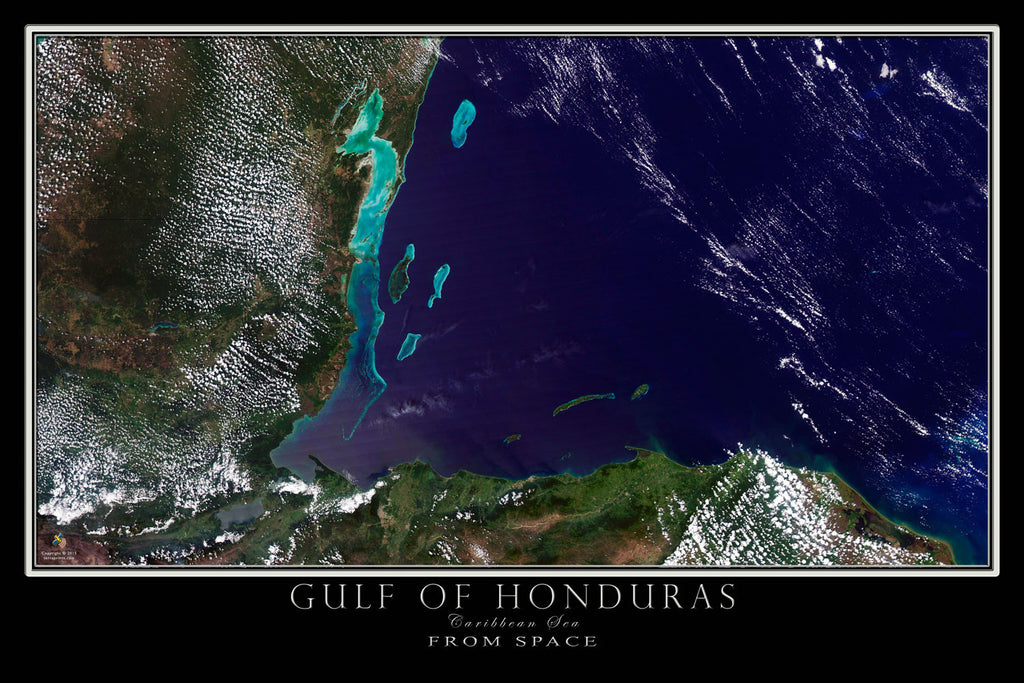 Gulf of Honduras From Space Satellite Poster Map - TerraPrints.com
