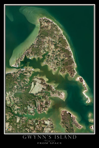 Gwynn's Island Virginia From Space Satellite Poster Map - TerraPrints.com