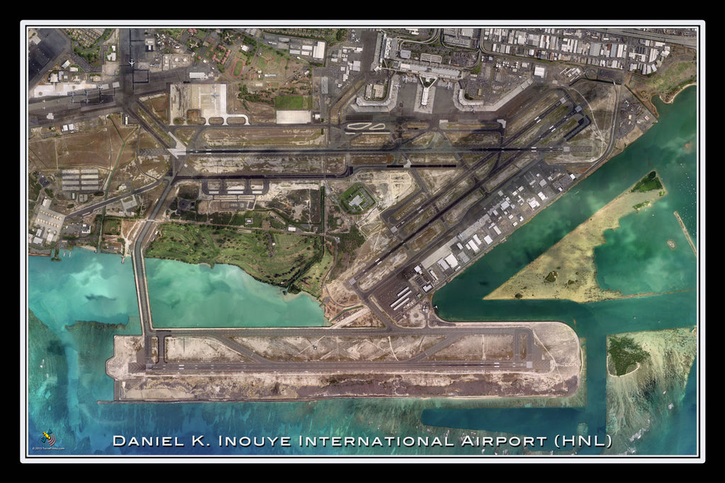 Inouye Intl Airport Honolulu Hawaii Satellite Poster Map