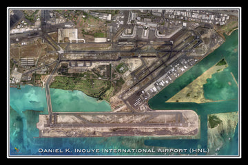 The Inouye Intl Airport Honolulu Hawaii Satellite Poster Map