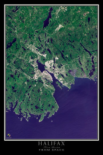 Halifax Nova Scotia Satellite Poster Map - TerraPrints.com