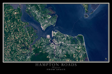 Hampton Roads Virginia Satellite Poster Map - TerraPrints.com