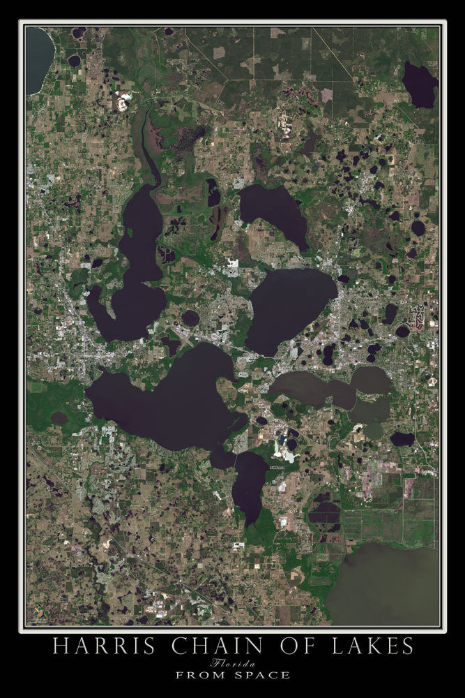 Harris Chain Of Lakes Florida From Space Satellite Poster Map - TerraPrints.com