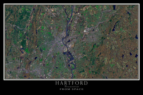 Hartford Connecticut From Space Satellite Poster Map - TerraPrints.com