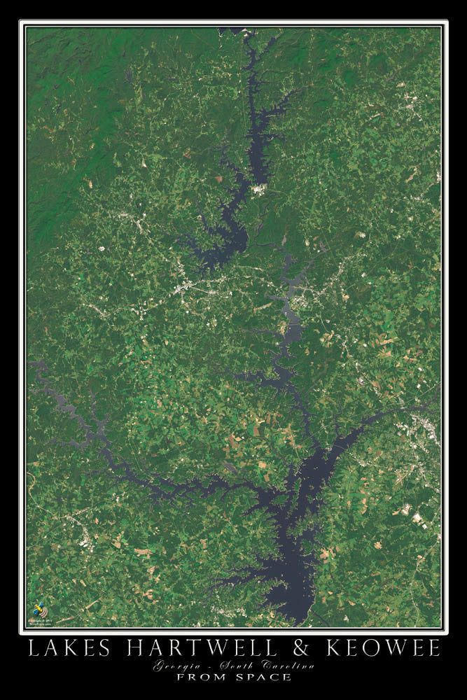 Hartwell & Keowee Lakes Georgia - South Carolina Satellite Poster Map - TerraPrints.com