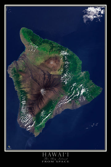 Hawaii - The Big Island Satellite Poster Map - TerraPrints.com