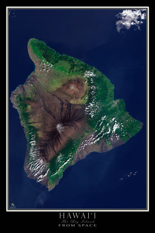 Hawaii - The Big Island From Space Satellite Poster Map - TerraPrints.com