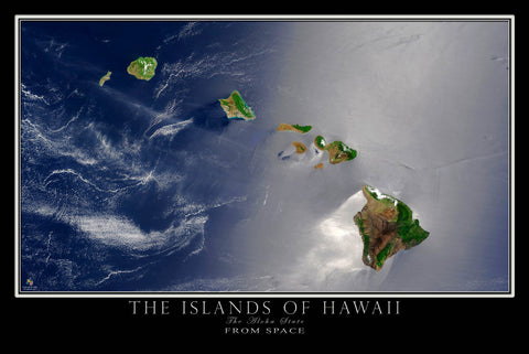 Hawaiian Islands Hawaii From Space Satellite Poster Map - TerraPrints.com