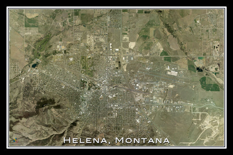 Helena Montana From Space Satellite Poster Map - TerraPrints.com