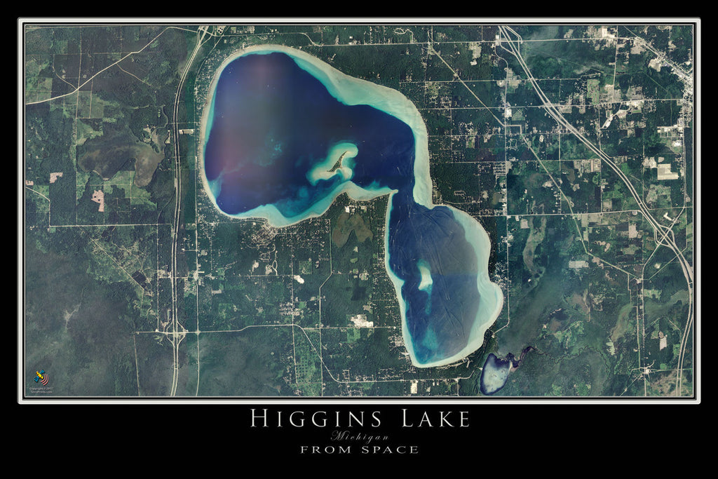 Higgins Lake Michigan Satellite Poster Map