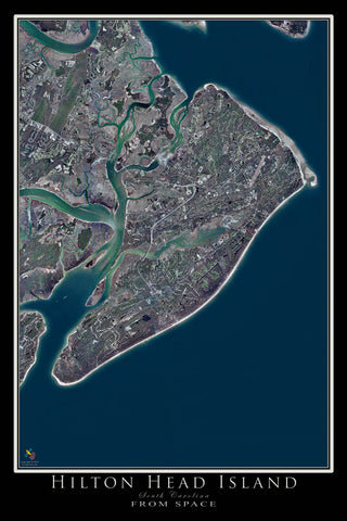 Hilton Head Island South Carolina From Space Satellite Poster Map - TerraPrints.com