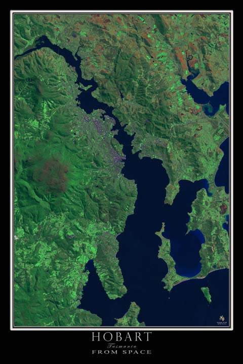 Hobart Tasmania Australia From Space Satellite Poster Map - TerraPrints.com