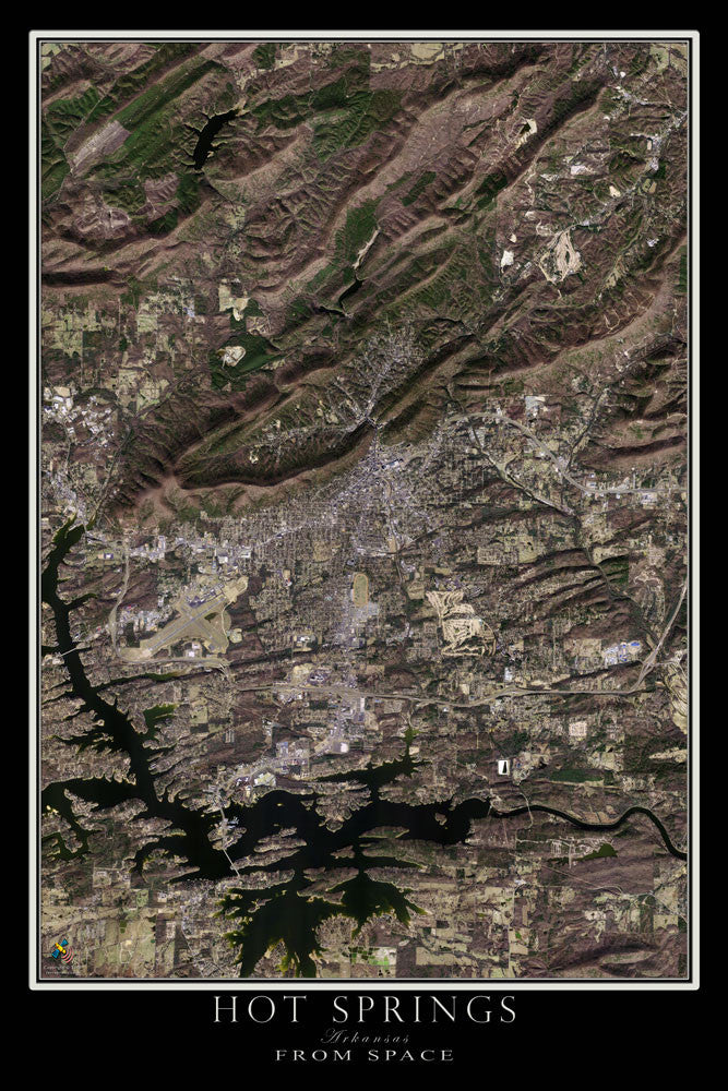 Hot Springs Arkansas From Space Satellite Poster Map - TerraPrints.com