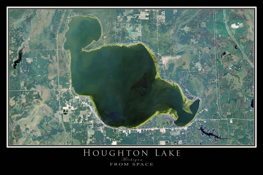 The Houghton Lake Michigan Satellite Poster Map